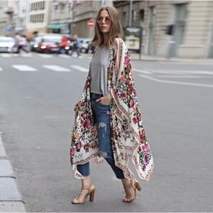 NEW! White floral boho kimono cover up wrap